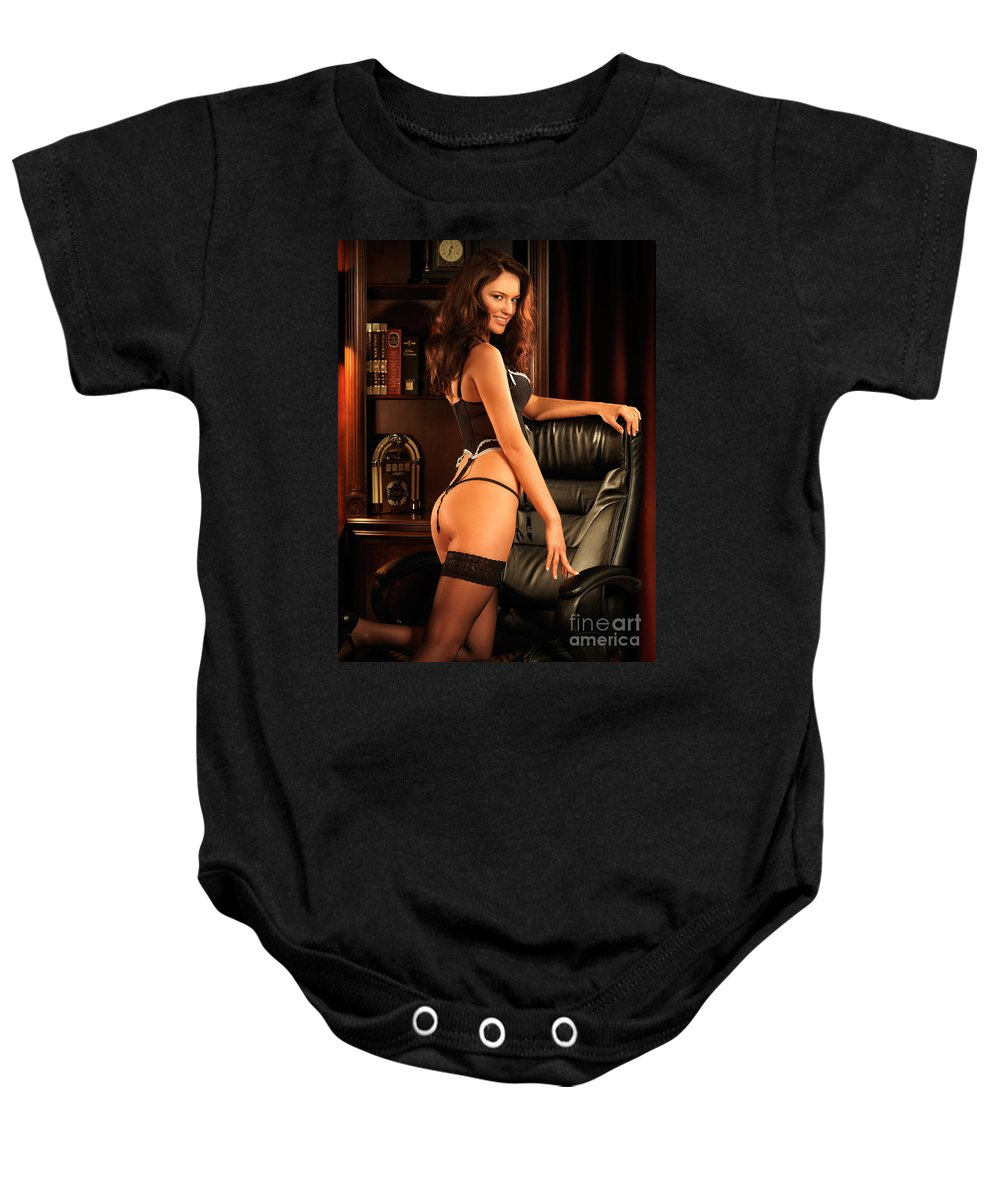 Glamour Baby Onesie featuring the photograph Sexy Young Woman In Black Lingerie by Oleksiy Maksymenko
