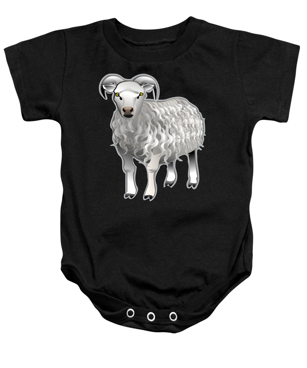 Animal Baby Onesie featuring the digital art Sheep by Frederick Holiday