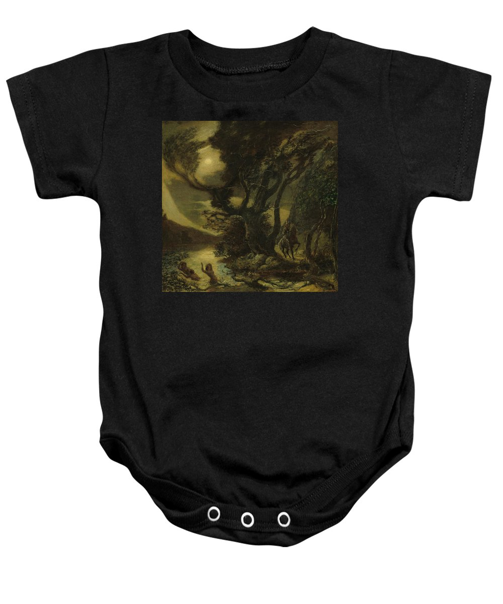Albert Pinkham Ryder Baby Onesie featuring the painting Siegfried And The Rhine Maidens by Albert Pinkham Ryder
