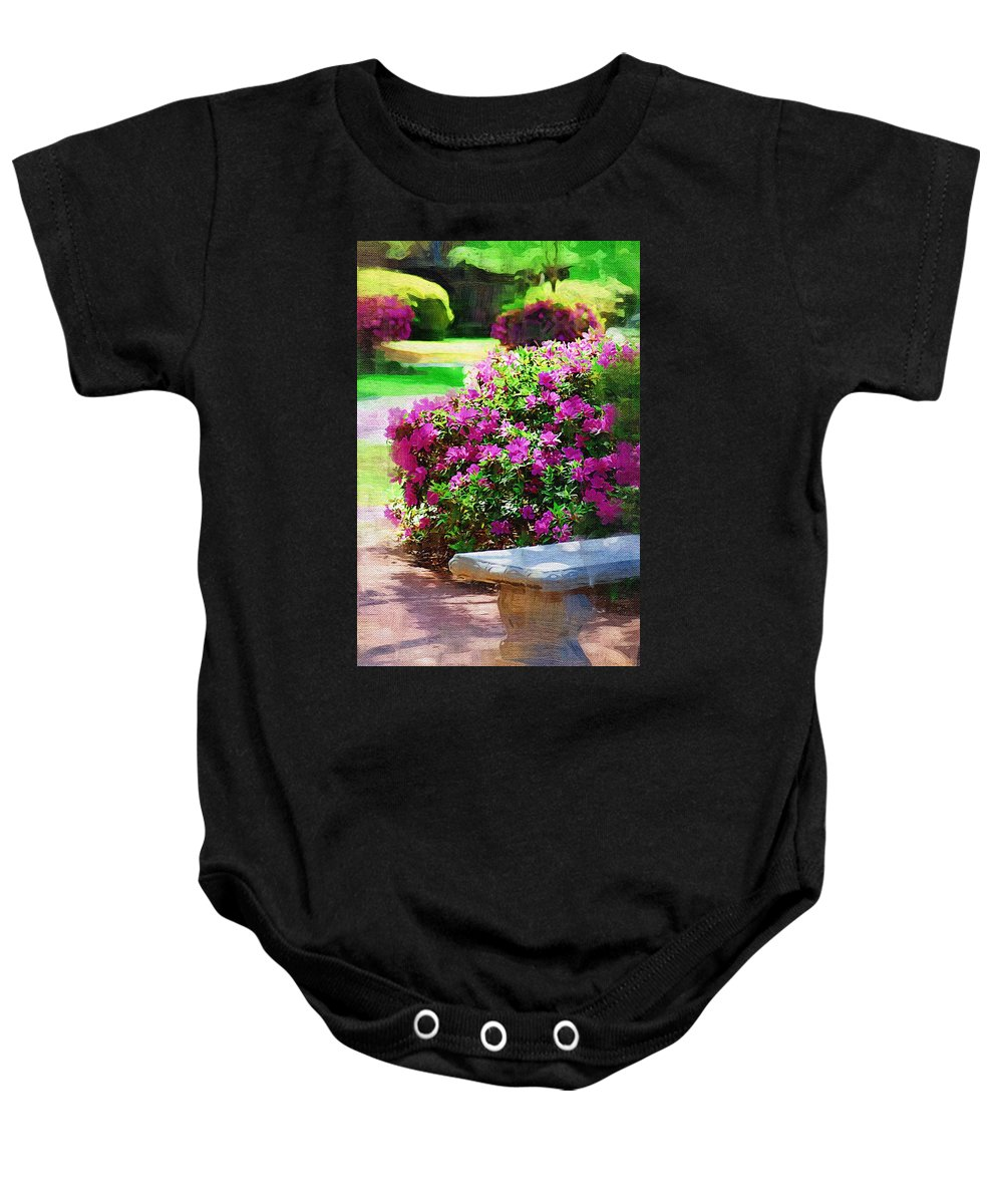 Landscape Baby Onesie featuring the photograph Sit A Spell by Donna Bentley