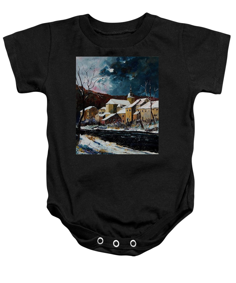 Winter Baby Onesie featuring the painting Snow In Chassepierre by Pol Ledent