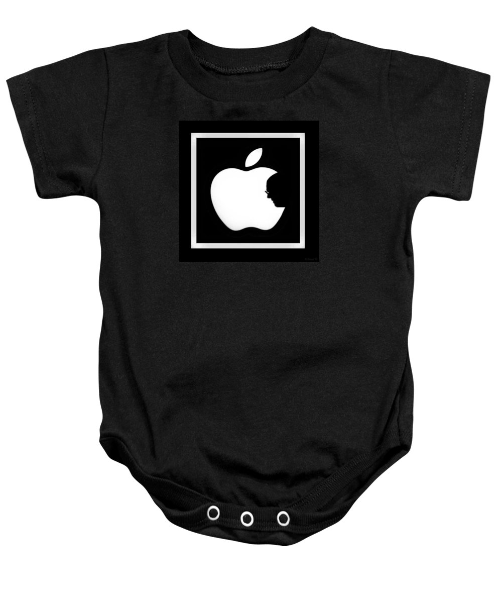 Black And White Baby Onesie featuring the photograph Steve Jobs Apple by Rob Hans