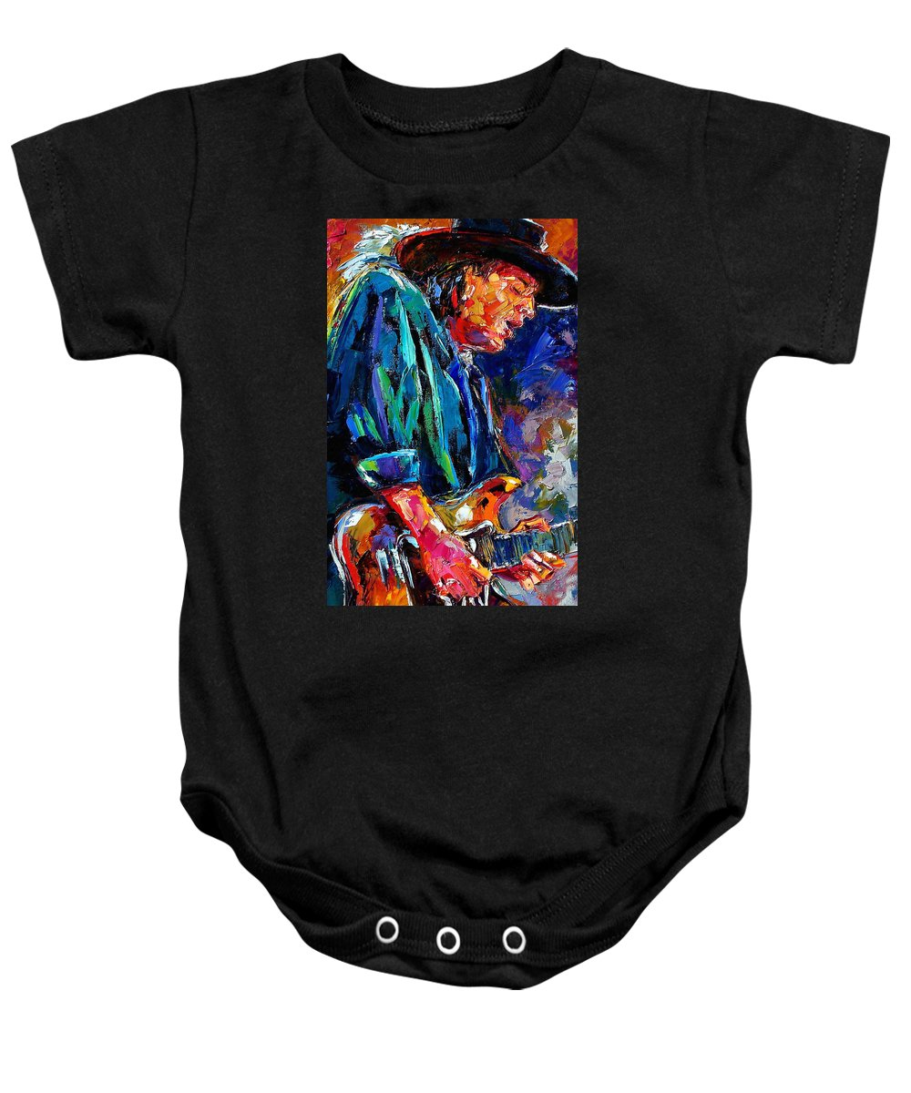 Stevie Ray Vaughan Baby Onesie featuring the painting Stevie Ray Vaughan by Debra Hurd