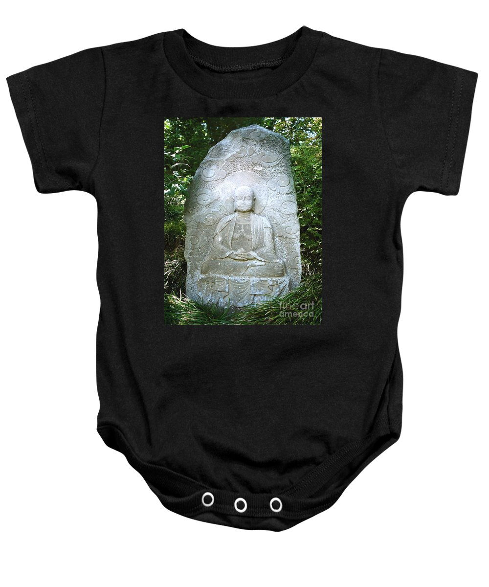 Stone Baby Onesie featuring the photograph Stone Buddha by Dean Triolo