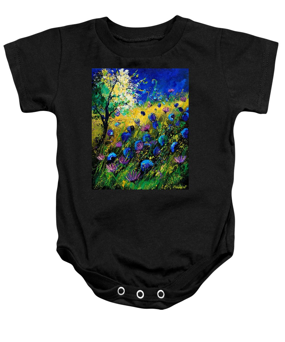 Poppies Baby Onesie featuring the painting Summer 450208 by Pol Ledent