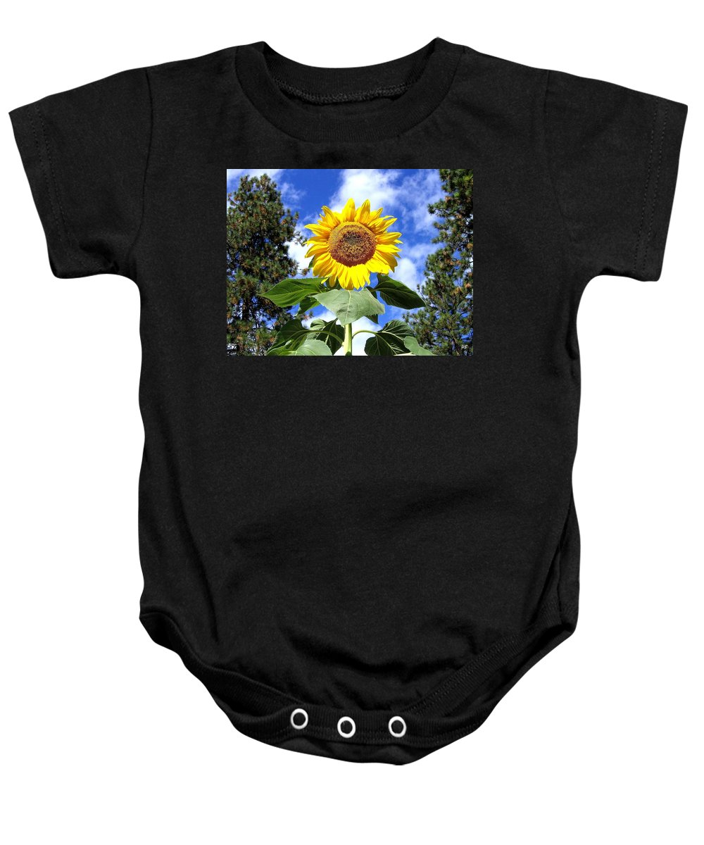Sunflower Baby Onesie featuring the photograph Tall And Sunny by Will Borden
