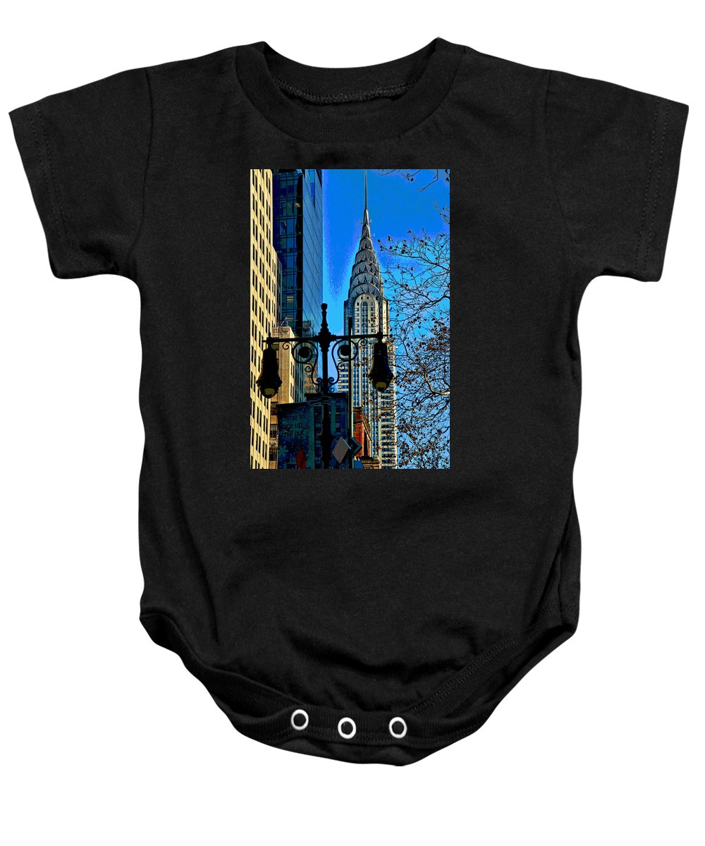 Manhattan Baby Onesie featuring the photograph The Chrysler Building by Allen Beatty