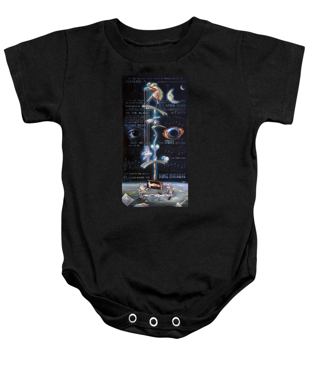 Chicken Baby Onesie featuring the painting The Danse Macabre by Patrick Anthony Pierson