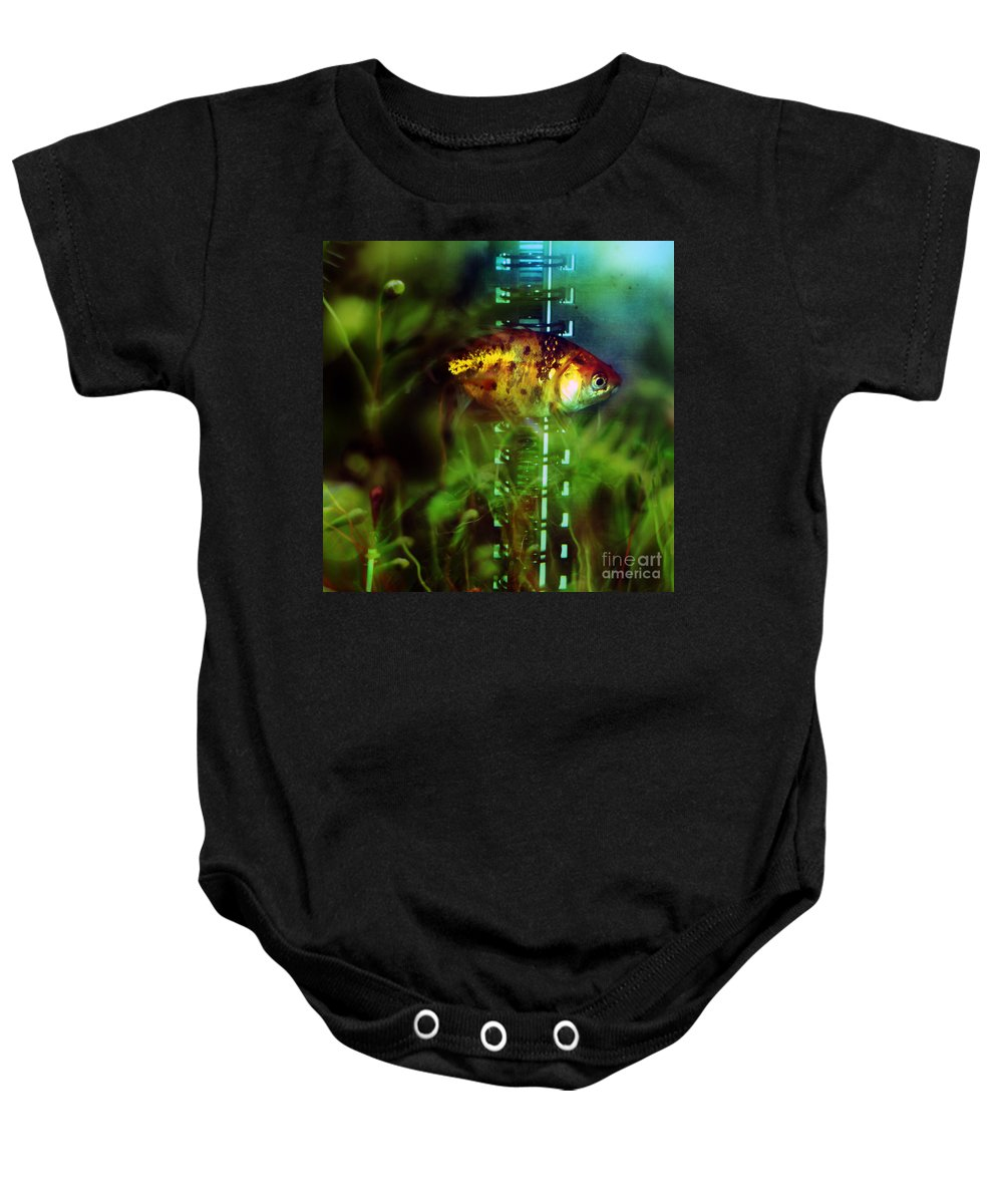 Fish Baby Onesie featuring the photograph The Goldfish by Angel Ciesniarska