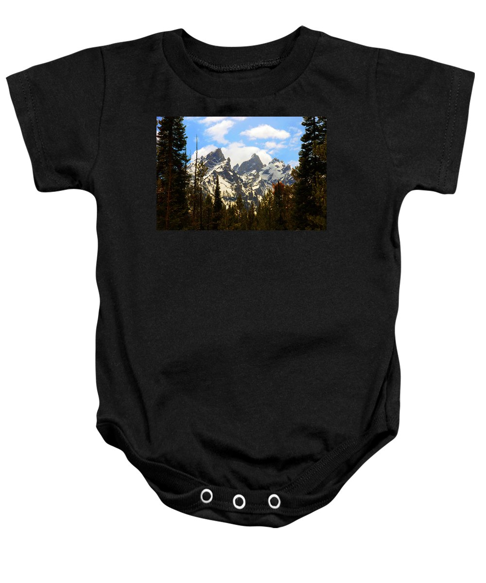 Photography Baby Onesie featuring the photograph The Grand Tetons by Susanne Van Hulst