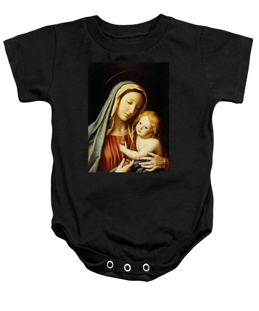 Mary Baby Onesie featuring the painting The Madonna And Child by Il Sassoferrato