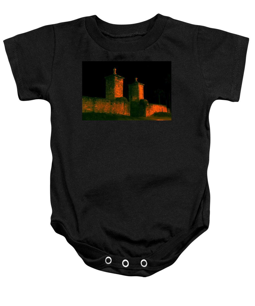St. Augustine Florida Baby Onesie featuring the photograph The Old City Gates by David Lee Thompson