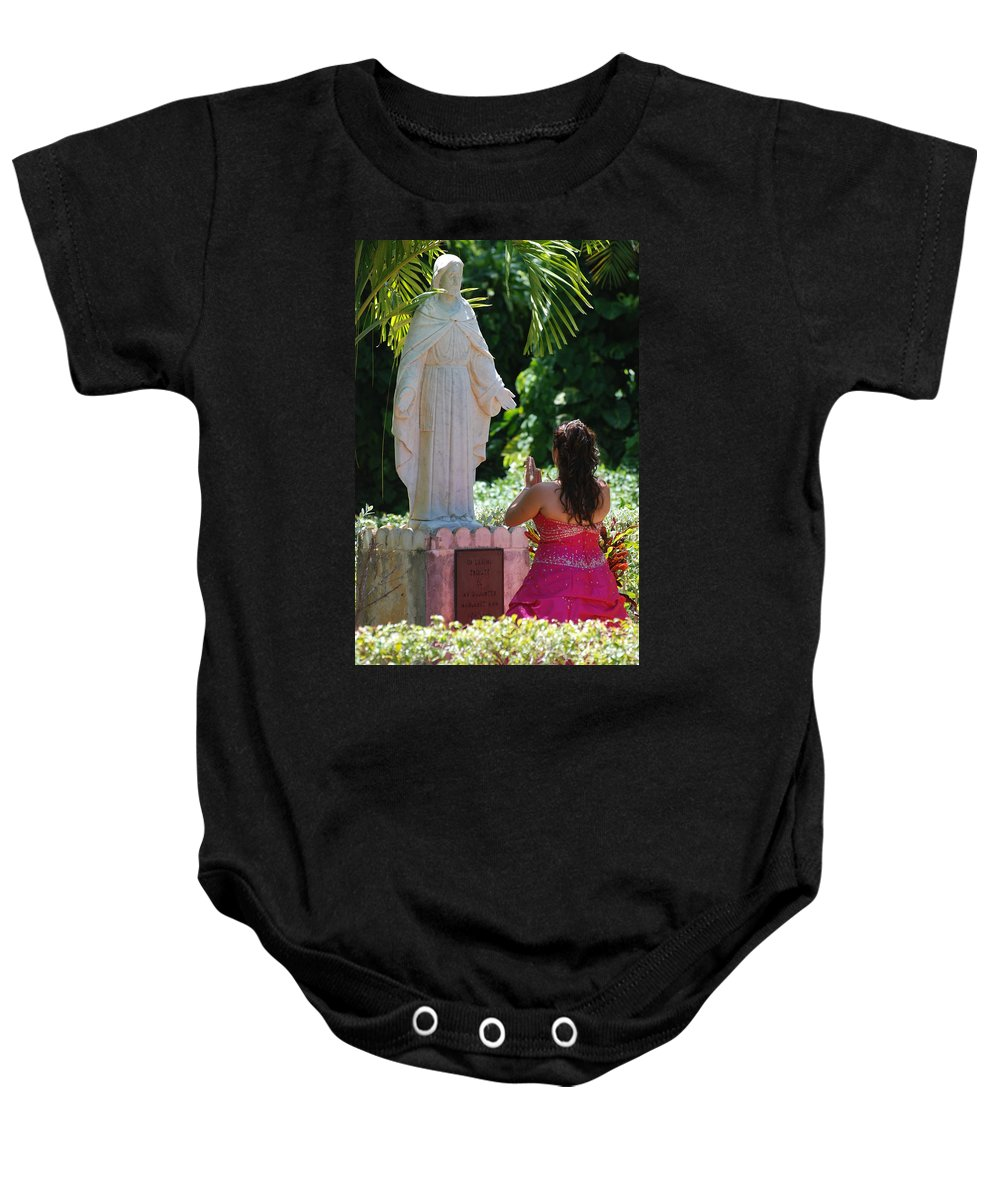Portrait Baby Onesie featuring the photograph The Praying Princess by Rob Hans