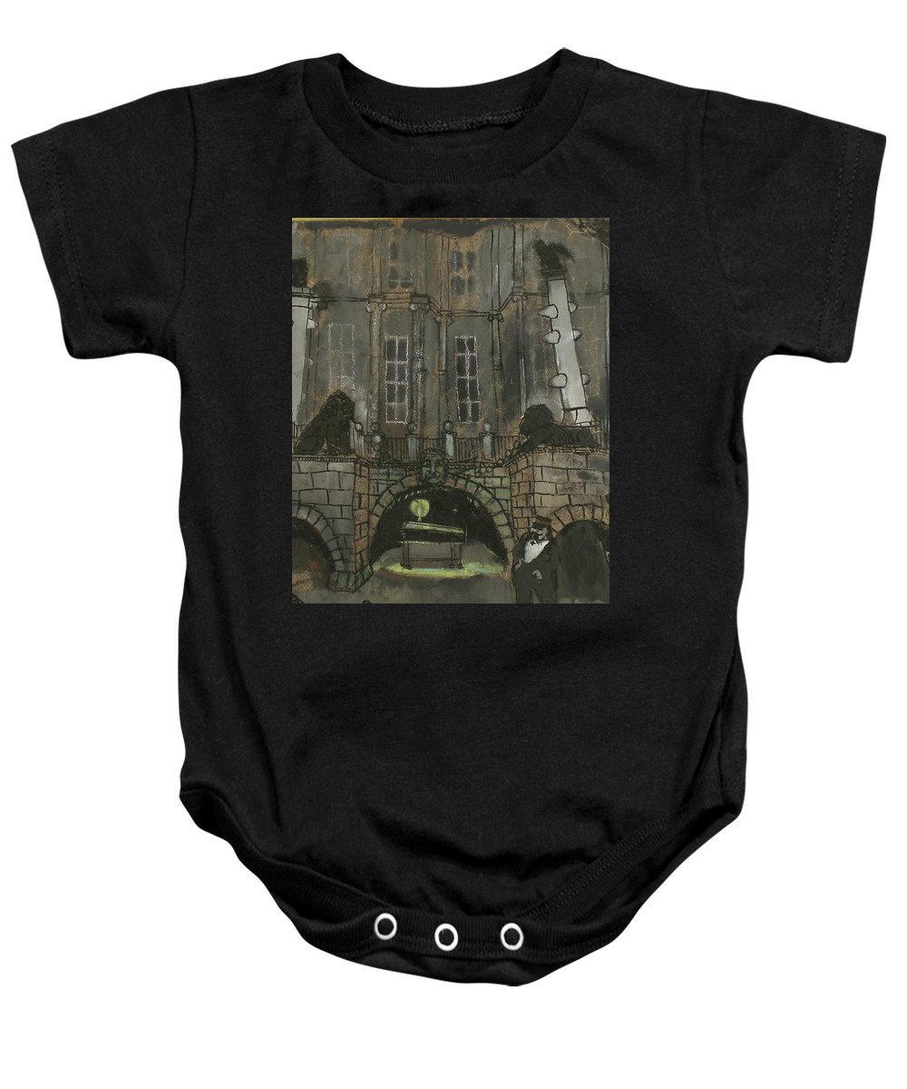 Performance Baby Onesie featuring the painting Tarelkin's Death by Robert Nizamov