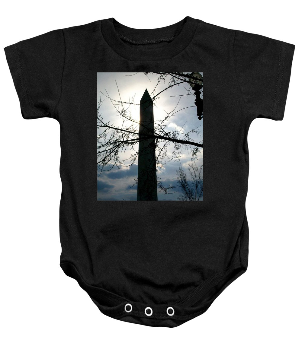 Photography Baby Onesie featuring the pyrography The Washington Monument by Fareeha Khawaja