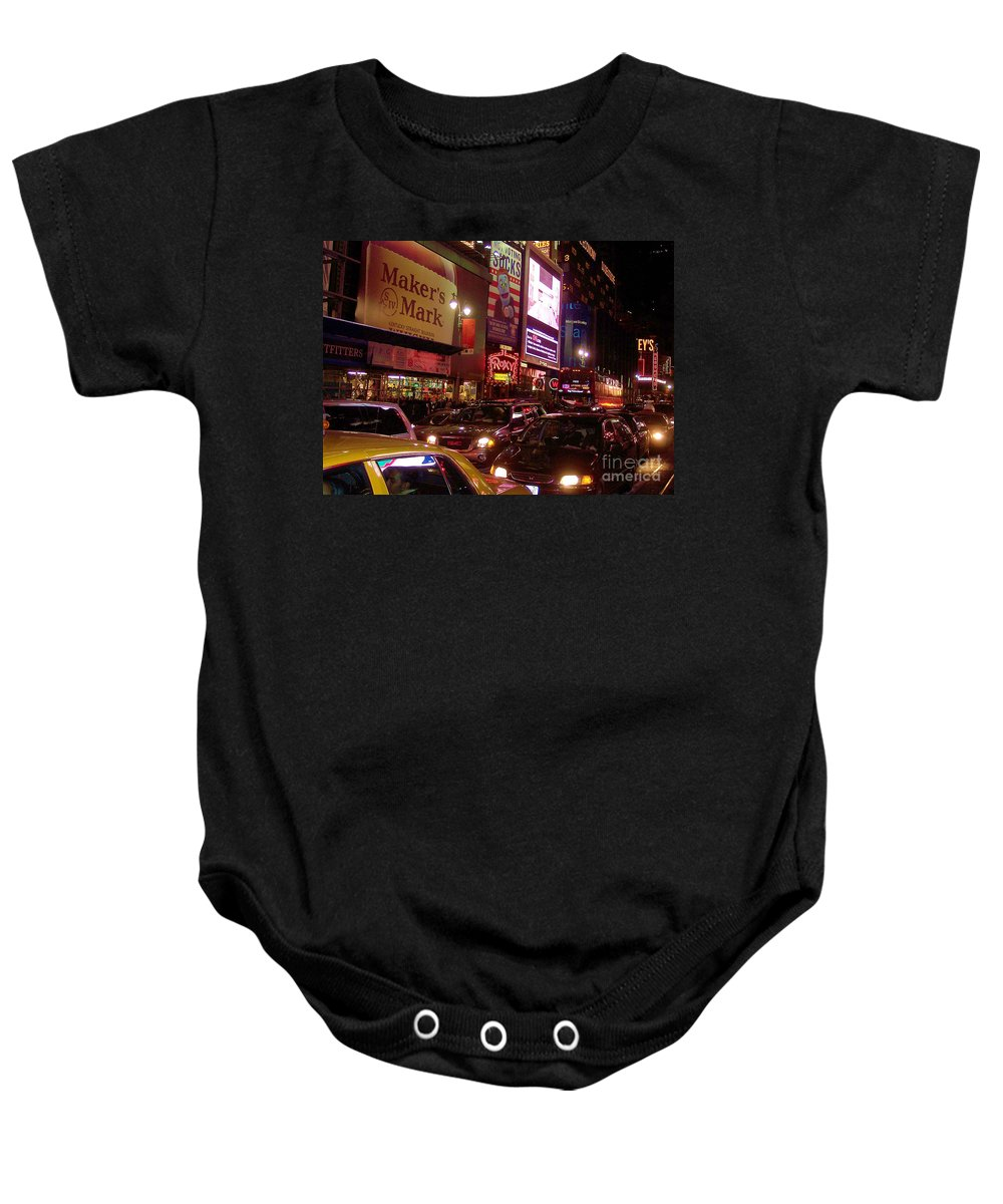 New York Baby Onesie featuring the photograph Times Square Night by Debbi Granruth