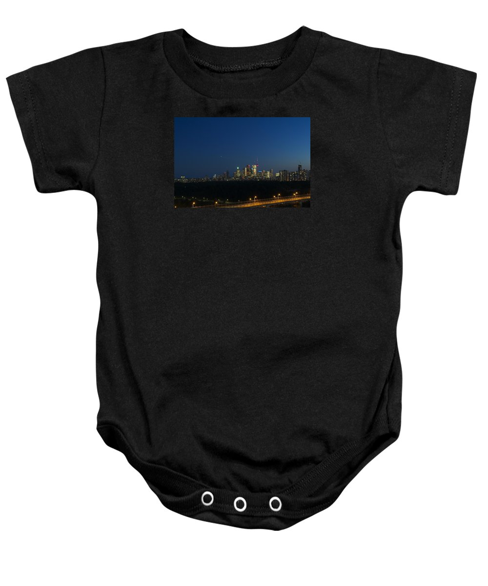 Toronto Baby Onesie featuring the photograph Toronto At Night by Robert Skuja