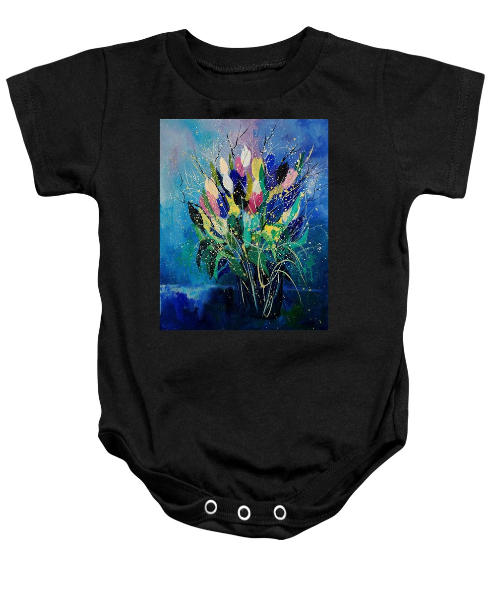 Flowers Baby Onesie featuring the painting Tulips 45 by Pol Ledent