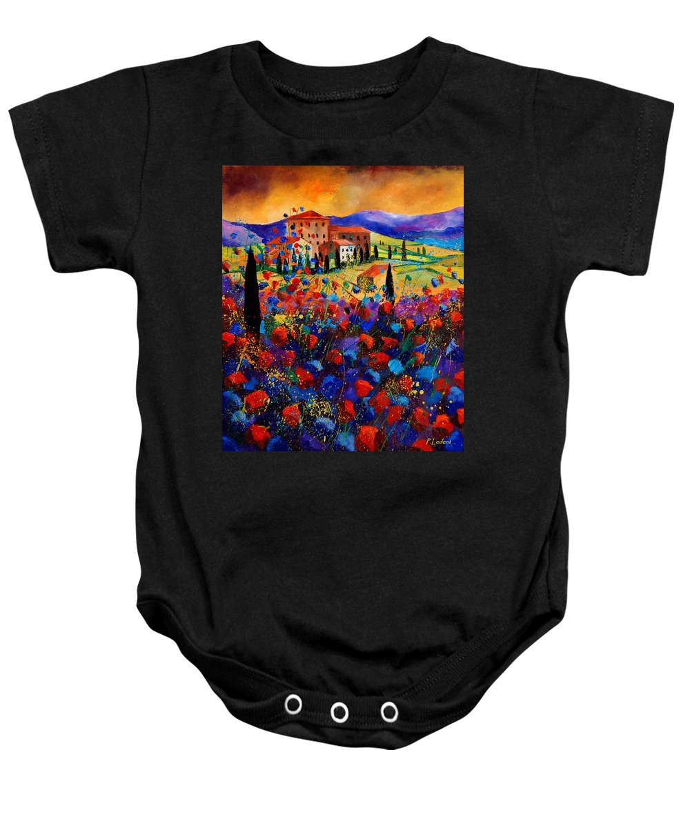 Flowers Baby Onesie featuring the painting Tuscany Poppies by Pol Ledent