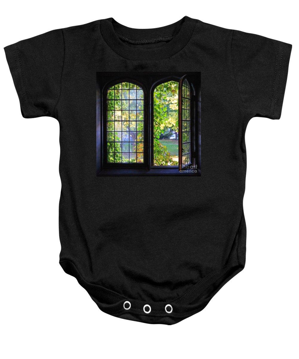 Autumn Baby Onesie featuring the photograph University Windows by Jannis Werner