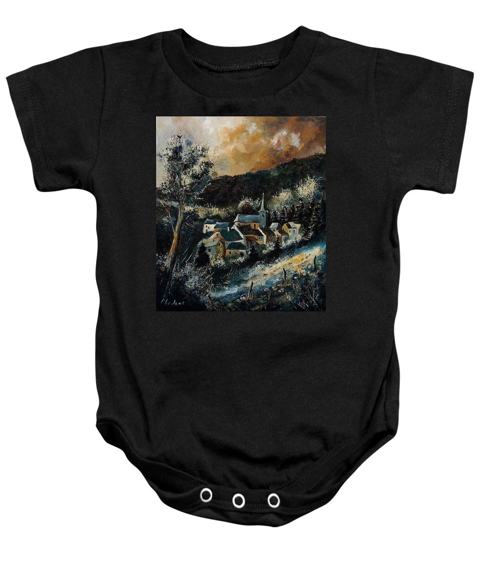 Tree Baby Onesie featuring the painting Vencimont 78 by Pol Ledent