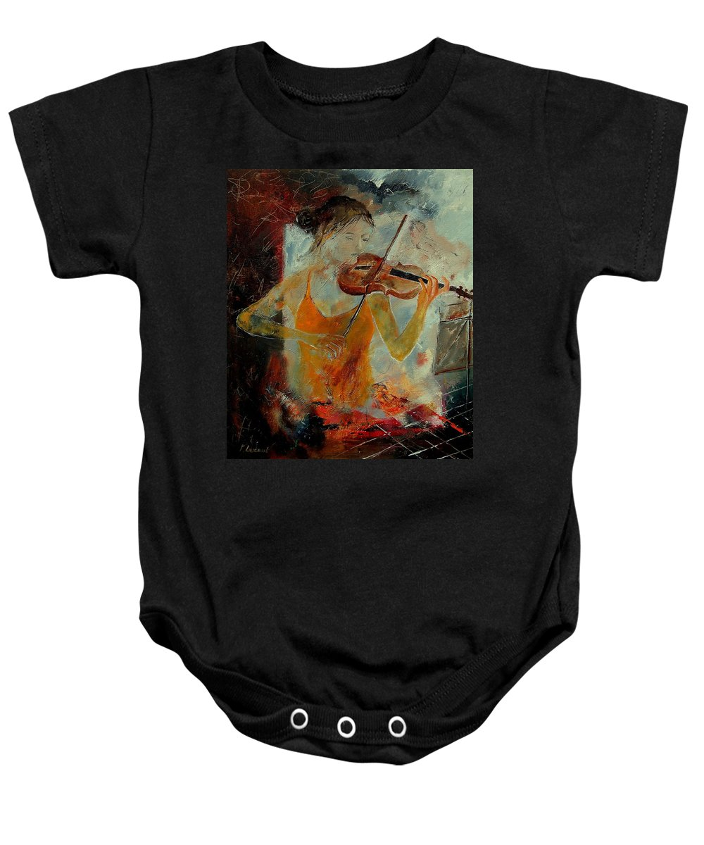 Music Baby Onesie featuring the painting Violinist 67 by Pol Ledent