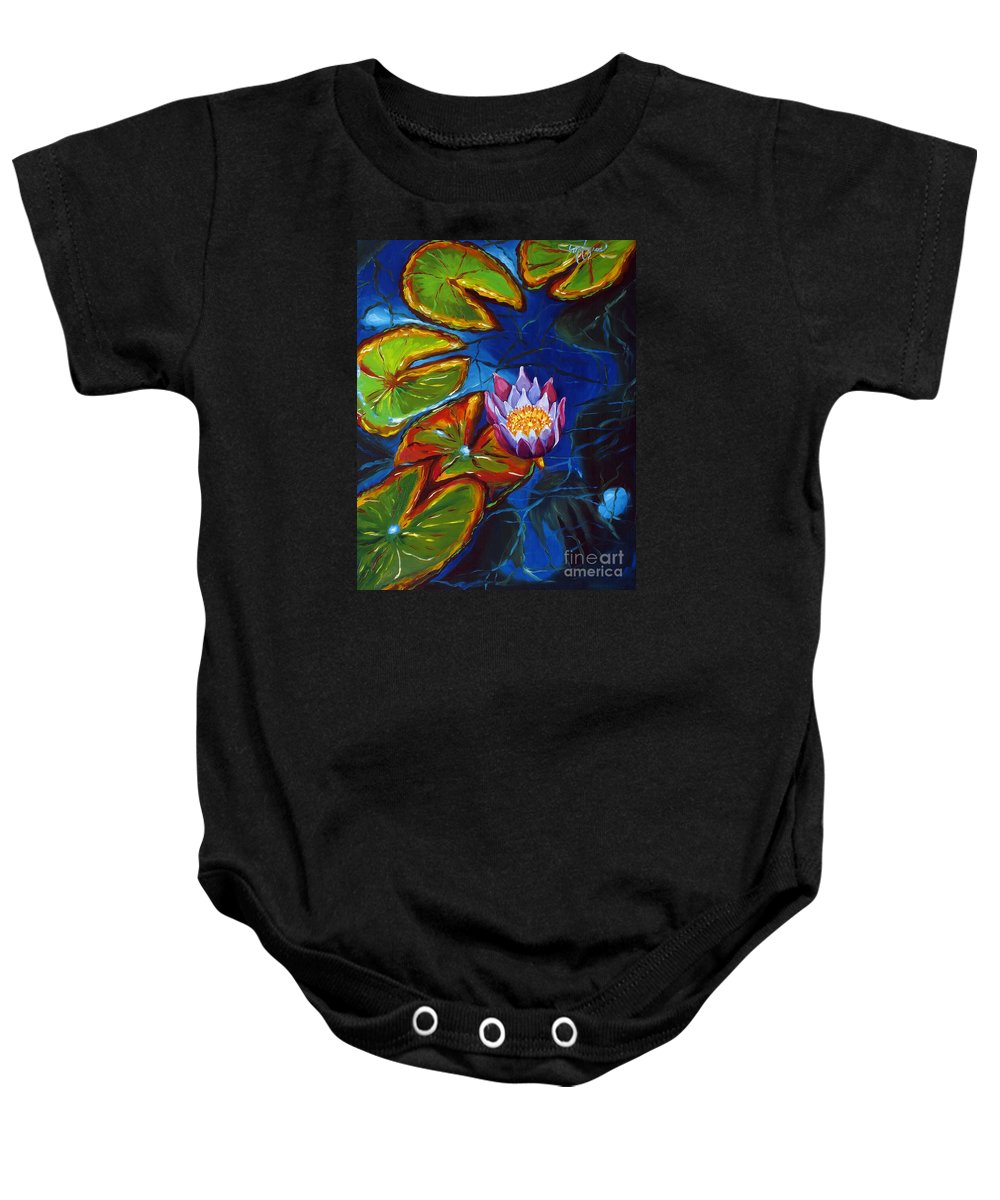 Still Life Baby Onesie featuring the painting 1 Water Nymph by Milagros Palmieri