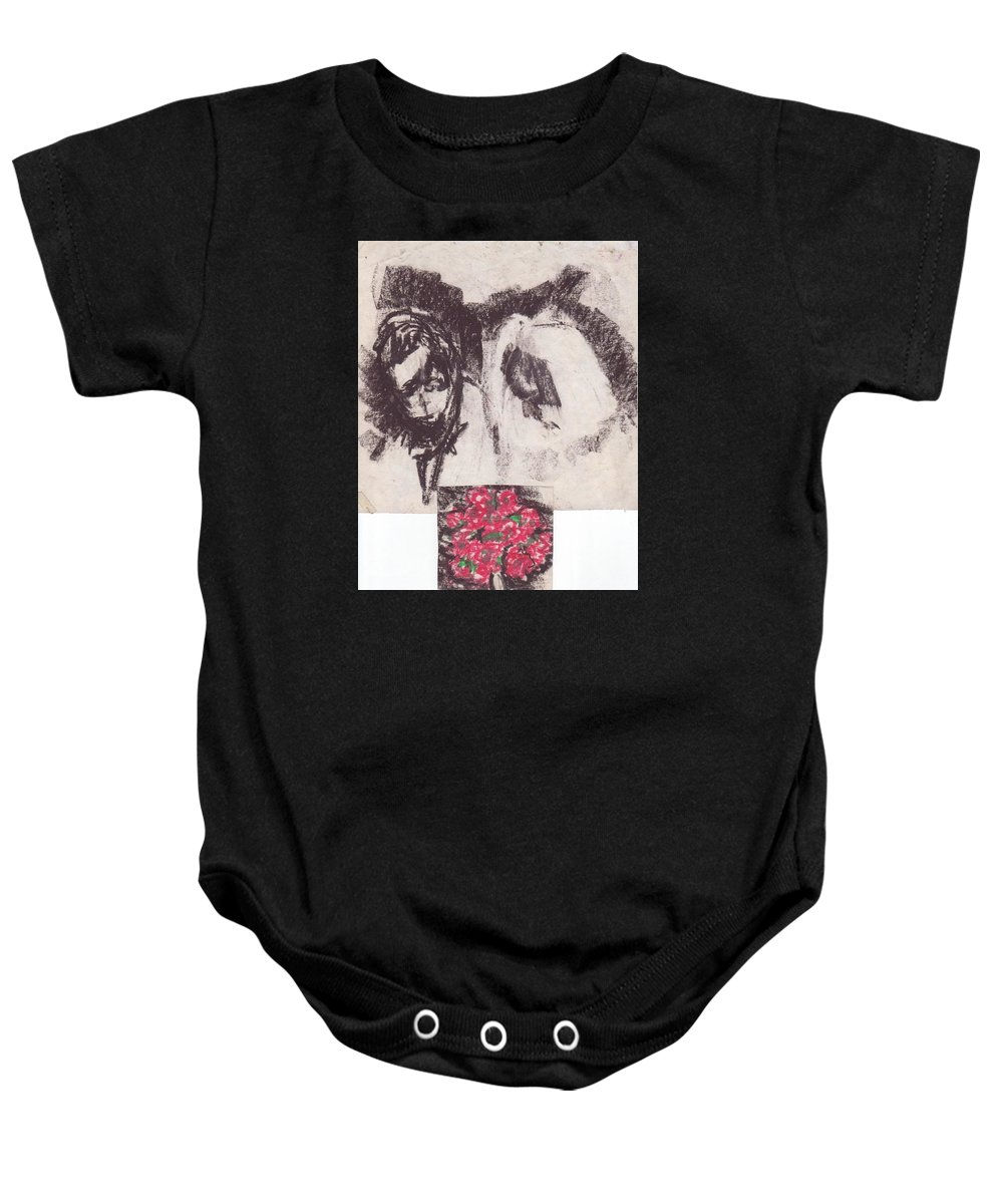 Bride Groom Flowers Wedding Ceremony Where 2 People United In Marriage. Traditions&customs Vary Greatly Between Cultures Baby Onesie featuring the drawing Wedding by William Douglas