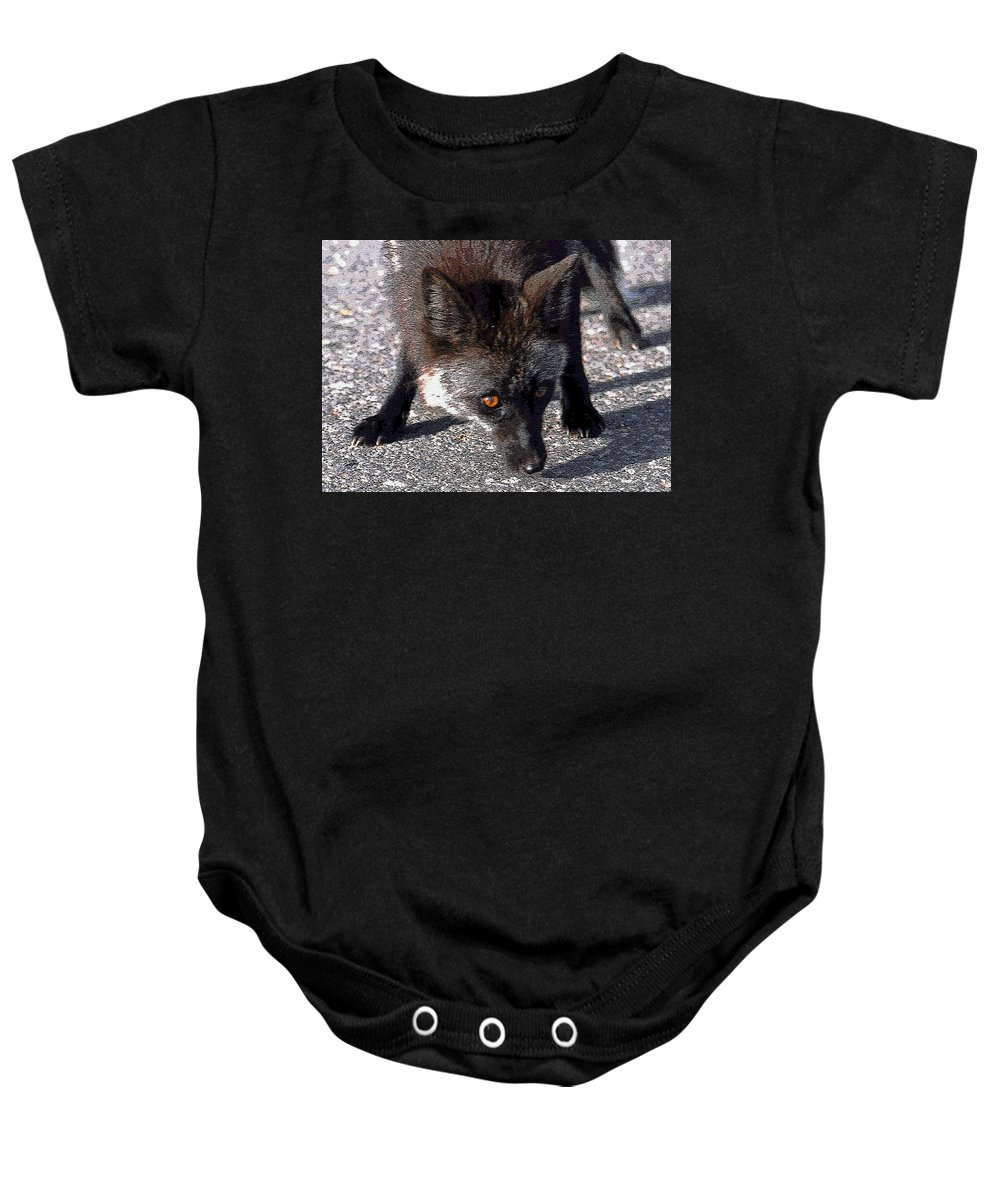 Art Baby Onesie featuring the painting Wild Eyes by David Lee Thompson