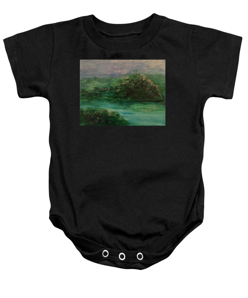 Textured Baby Onesie featuring the painting Wild Rose Bushes by KJ Burk
