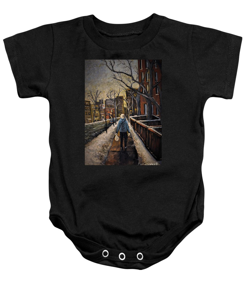 Montreal Baby Onesie featuring the painting Winter In The City by Reb Frost
