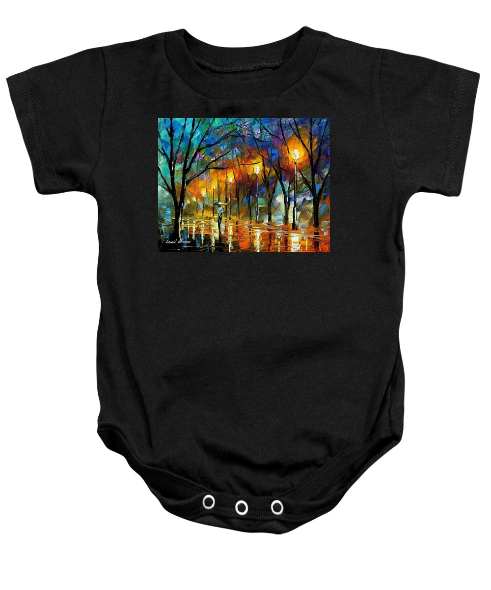Landscape Baby Onesie featuring the painting Winter by Leonid Afremov