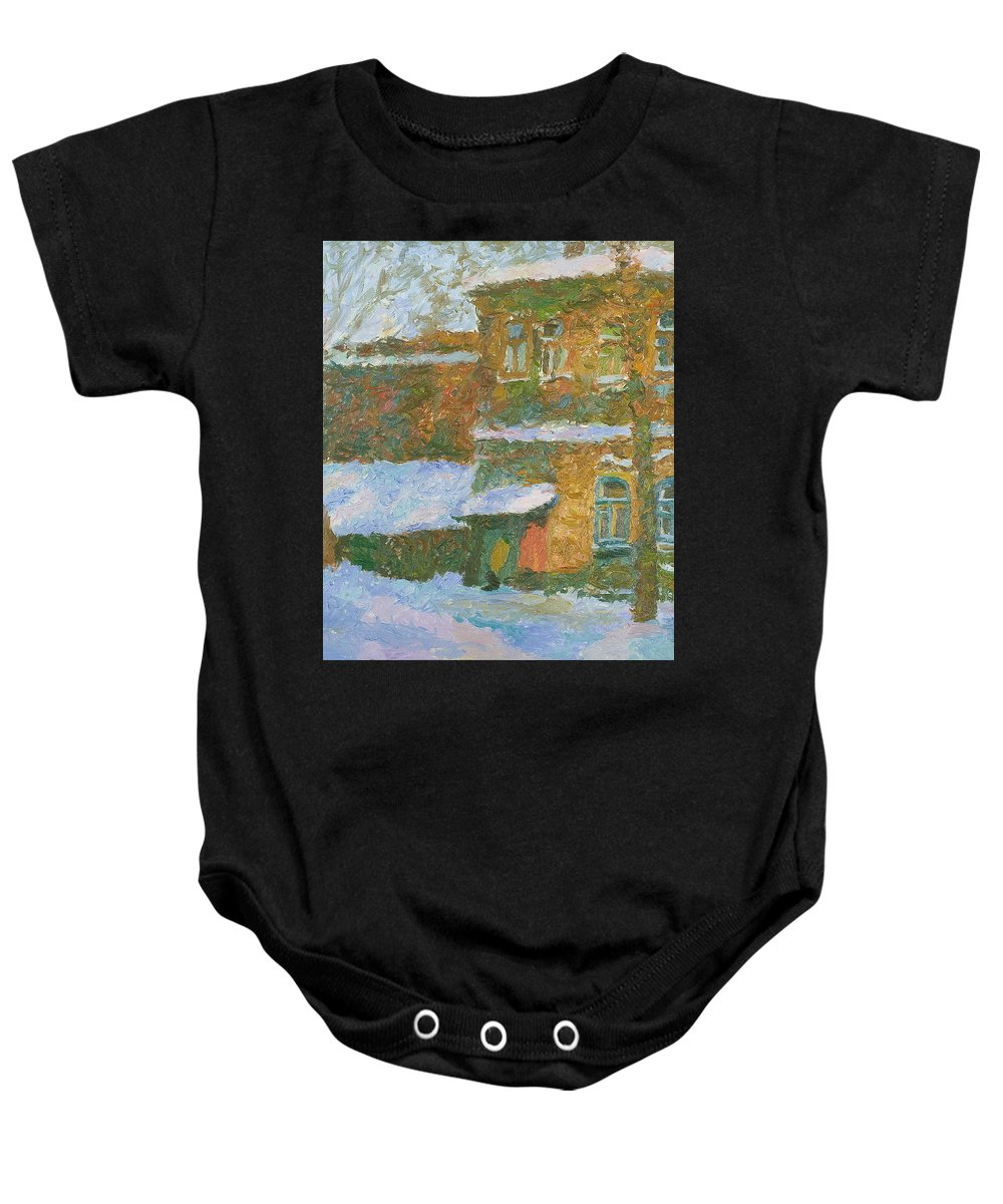 Snow Baby Onesie featuring the painting Winter by Robert Nizamov