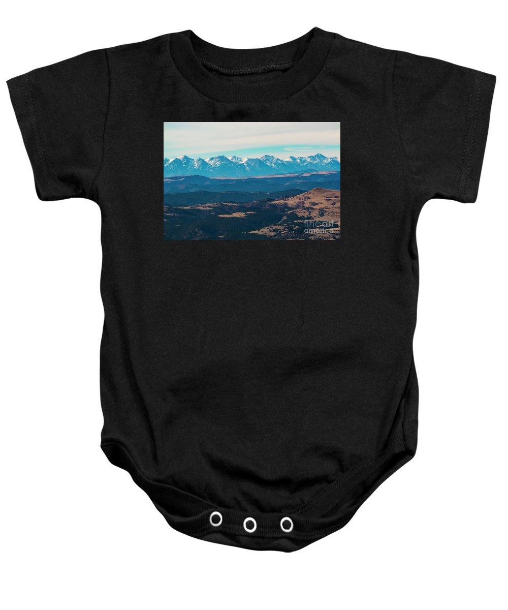 Sangre De Cristo Baby Onesie featuring the photograph Winter Sangre De Cristo Mountains by Steve Krull