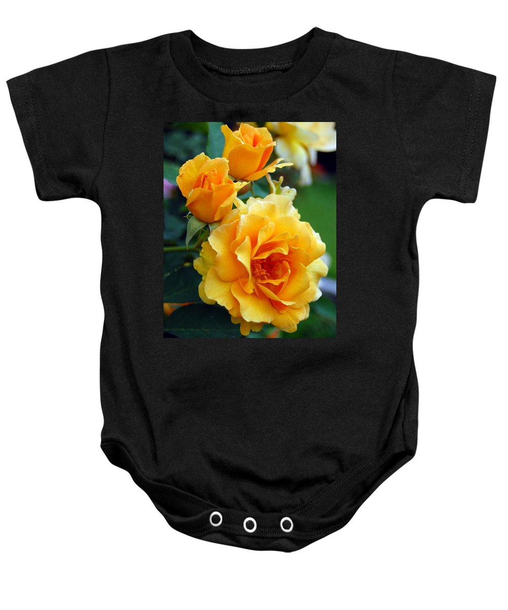 Flower Baby Onesie featuring the photograph Yellow Roses by Amy Fose
