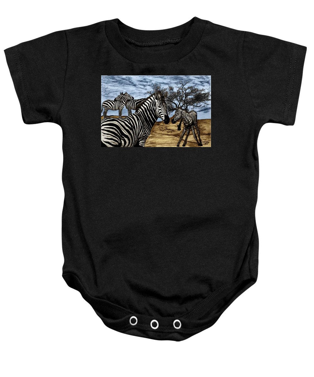 Zebra Outback Baby Onesie featuring the drawing Zebra Outback by Peter Piatt