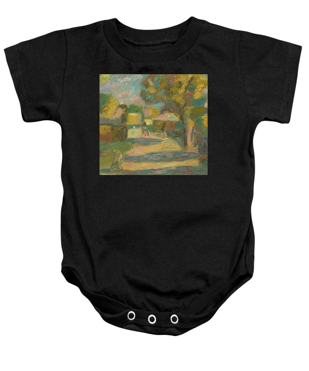 Street Baby Onesie featuring the painting Village by Robert Nizamov