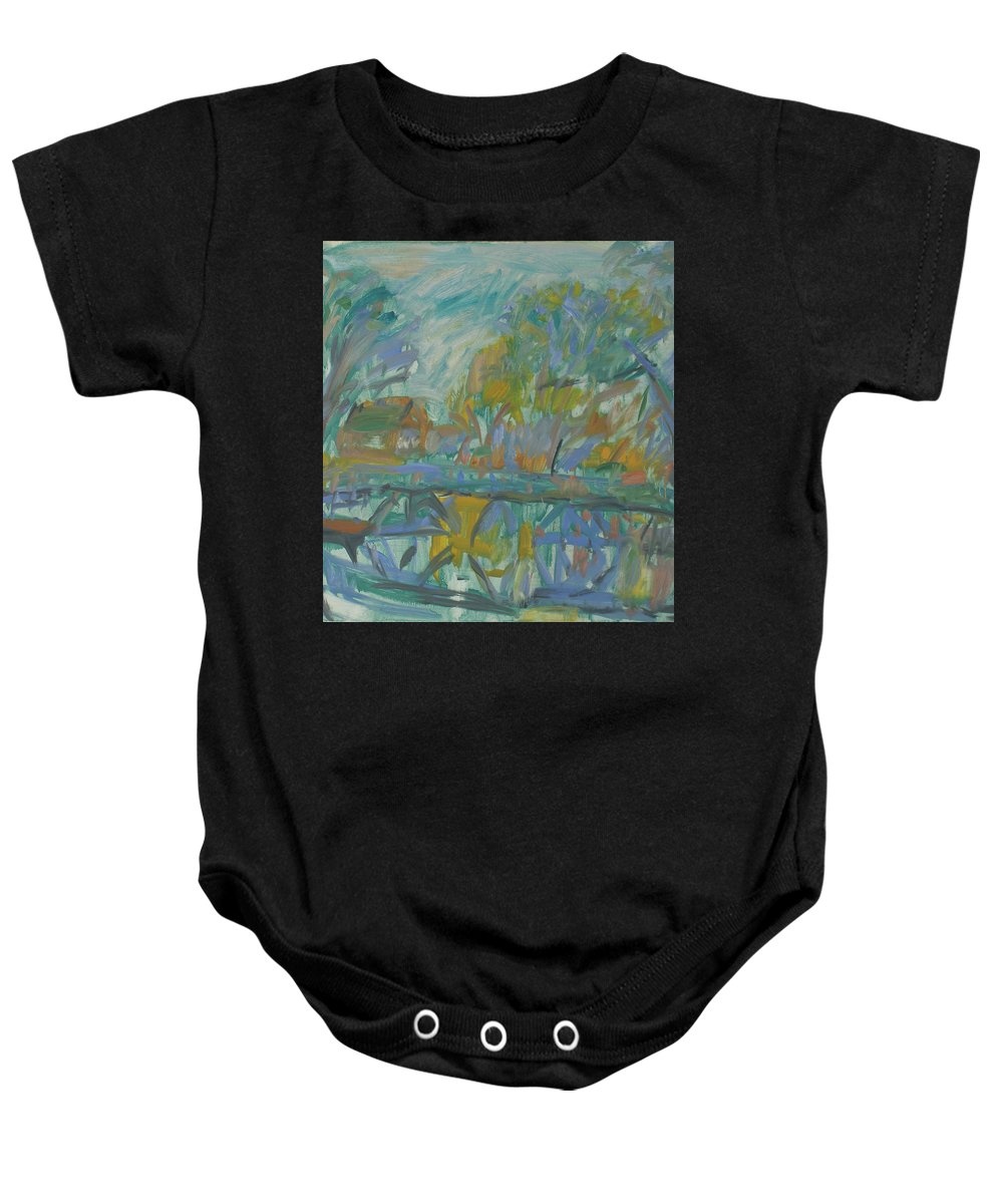 River Baby Onesie featuring the painting Landscape by Robert Nizamov