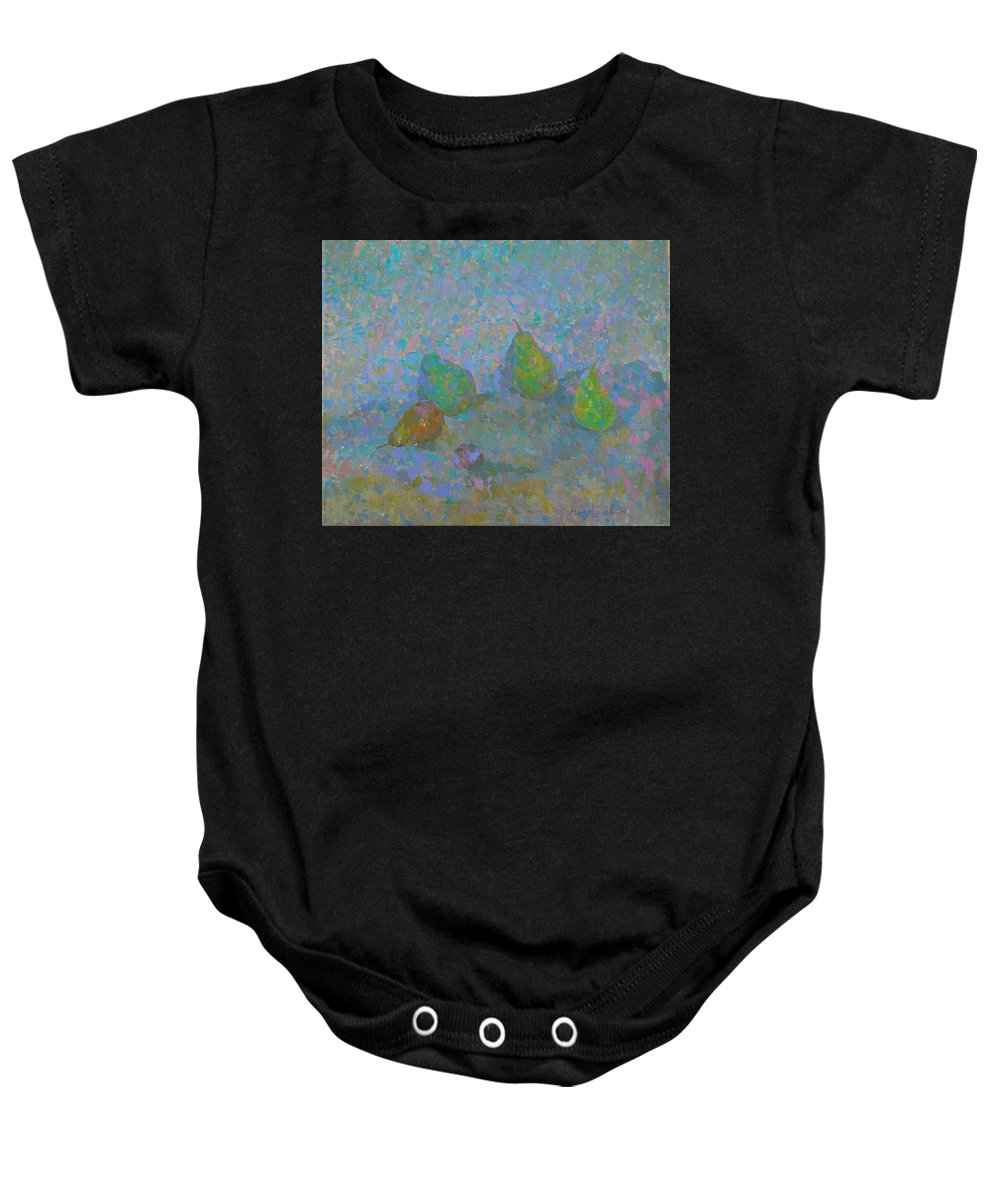 Pears Baby Onesie featuring the painting Pears by Robert Nizamov
