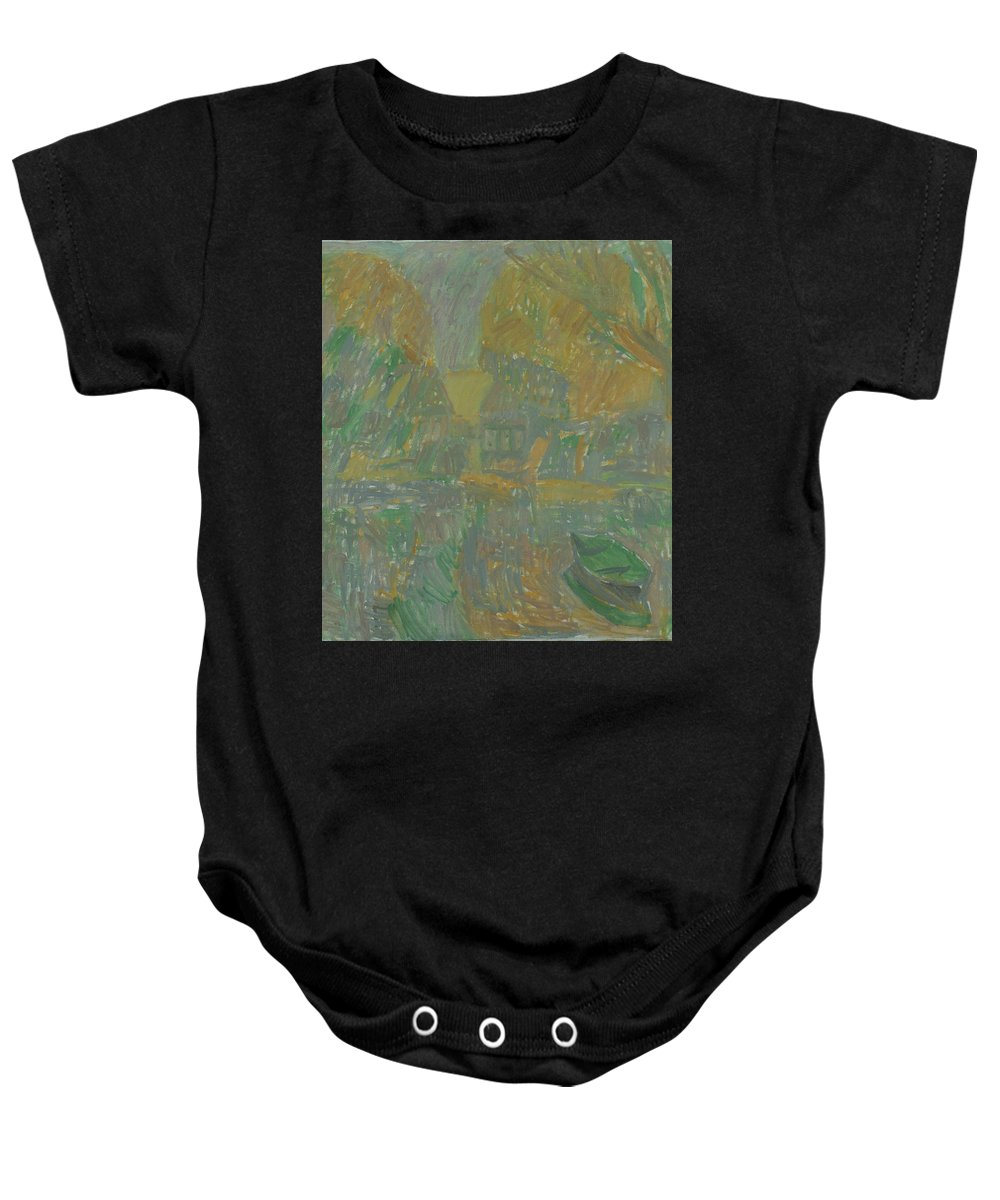 River Baby Onesie featuring the painting Boats by Robert Nizamov
