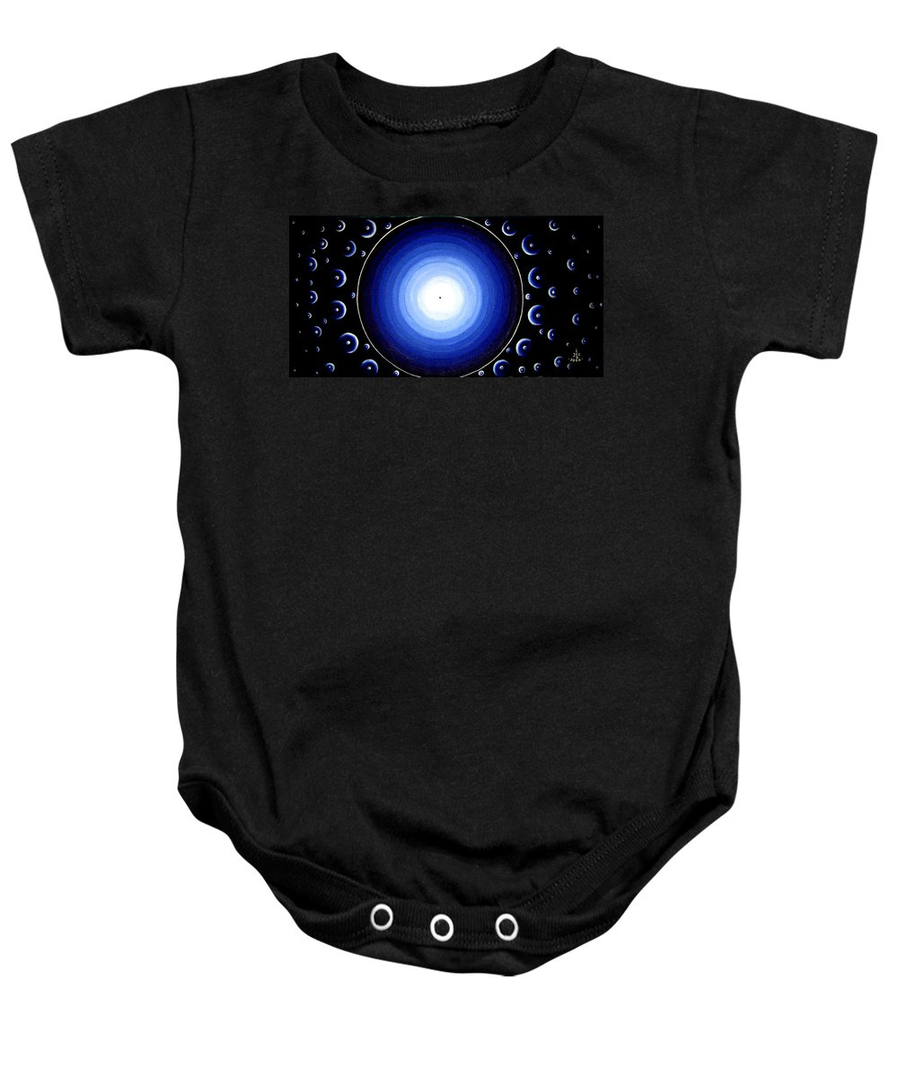 12 Dimensions By Ted Jec Baby Onesie featuring the painting 12 Dimensions by Ted Jeczalik