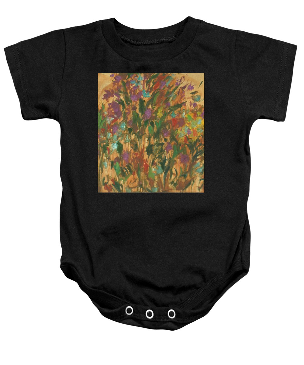 Bouquet Baby Onesie featuring the painting Flowers by Robert Nizamov