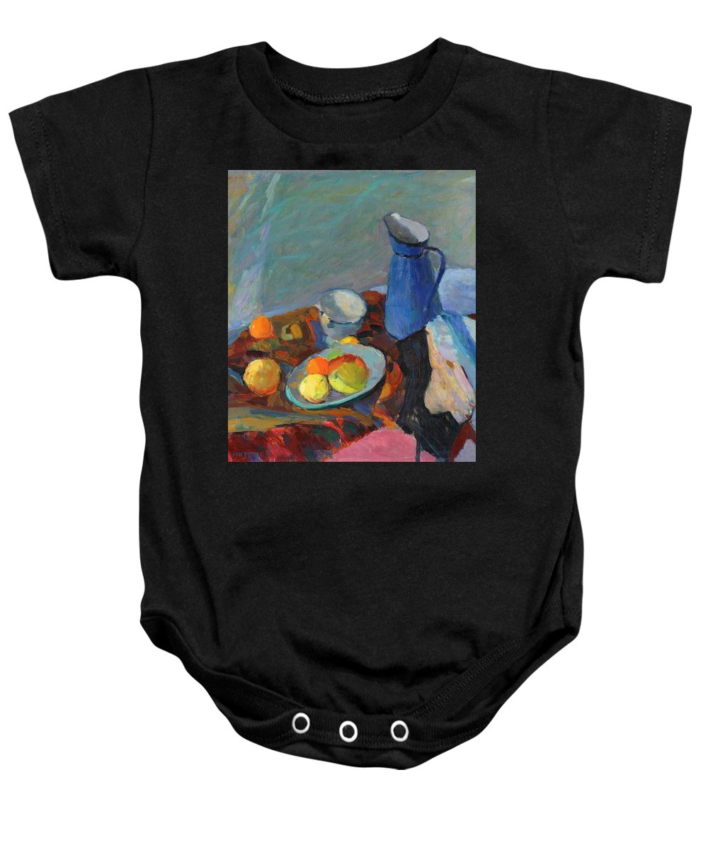Blue Baby Onesie featuring the painting Still Life by Robert Nizamov