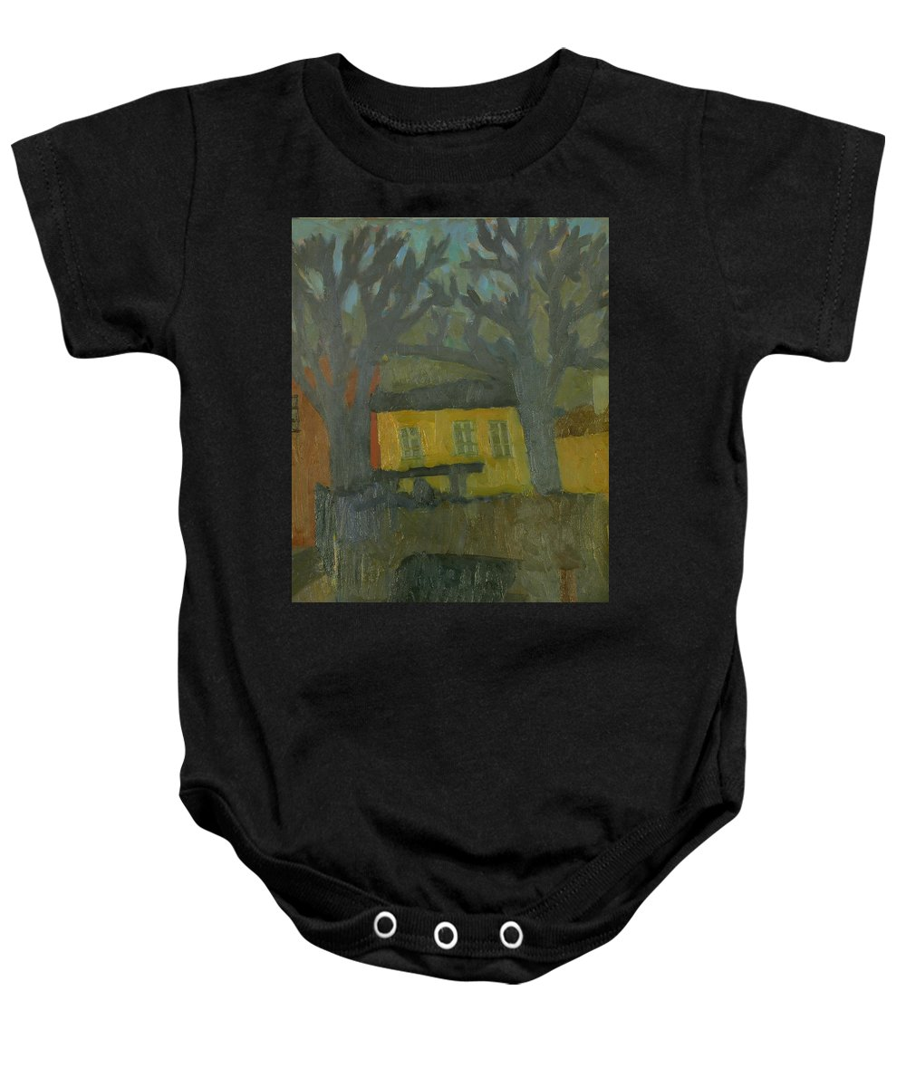 Street Baby Onesie featuring the painting Old House by Robert Nizamov