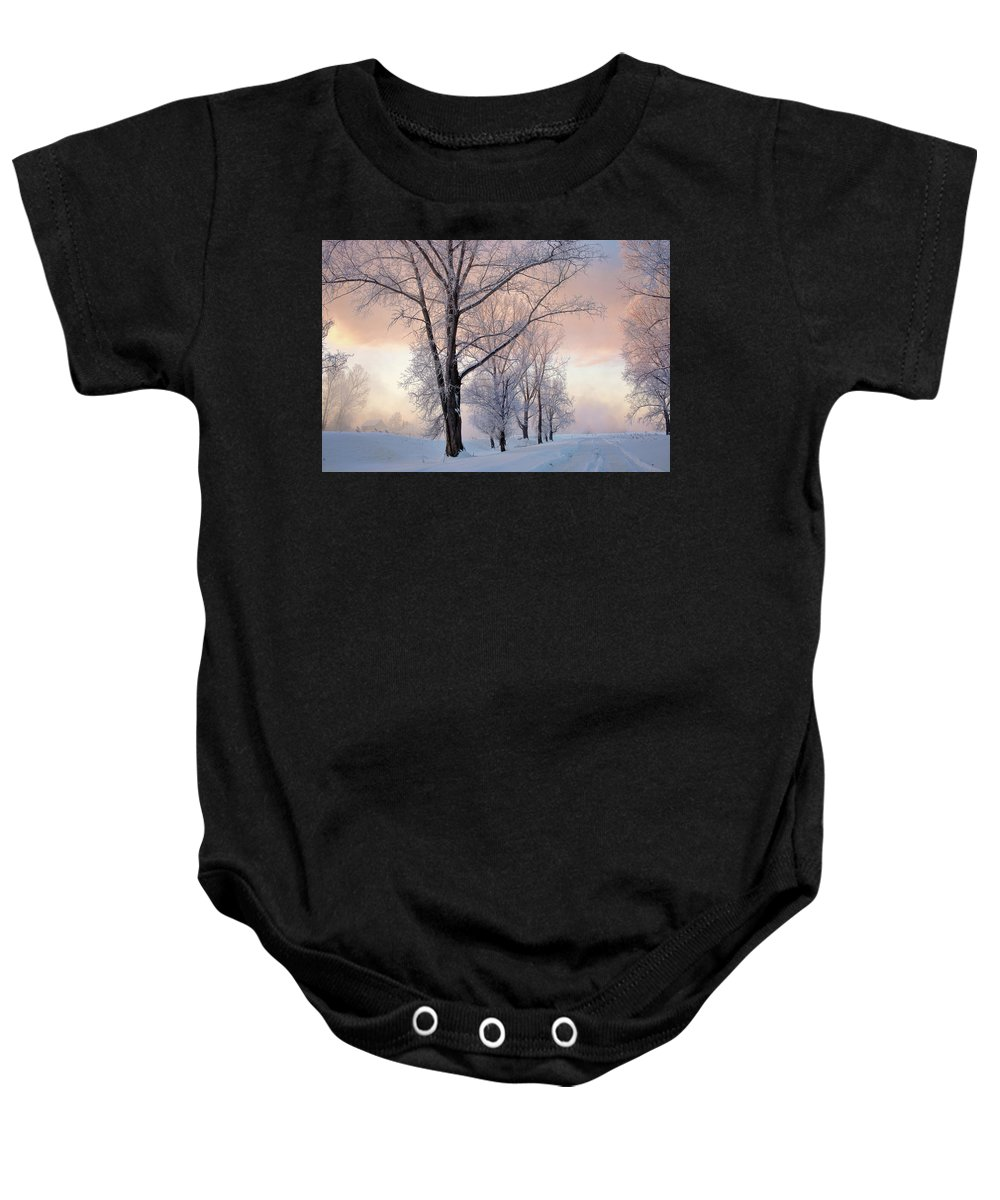 Amazing Baby Onesie featuring the photograph Amazing Landscape With Frozen Snow Covered Trees At Sunrise  by Oleg Yermolov
