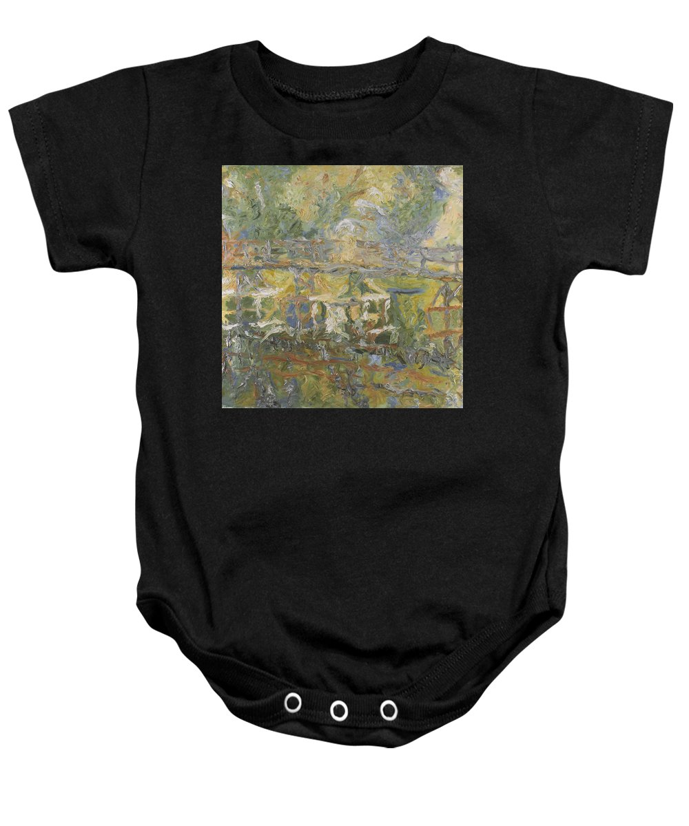 River Baby Onesie featuring the painting Bridge by Robert Nizamov