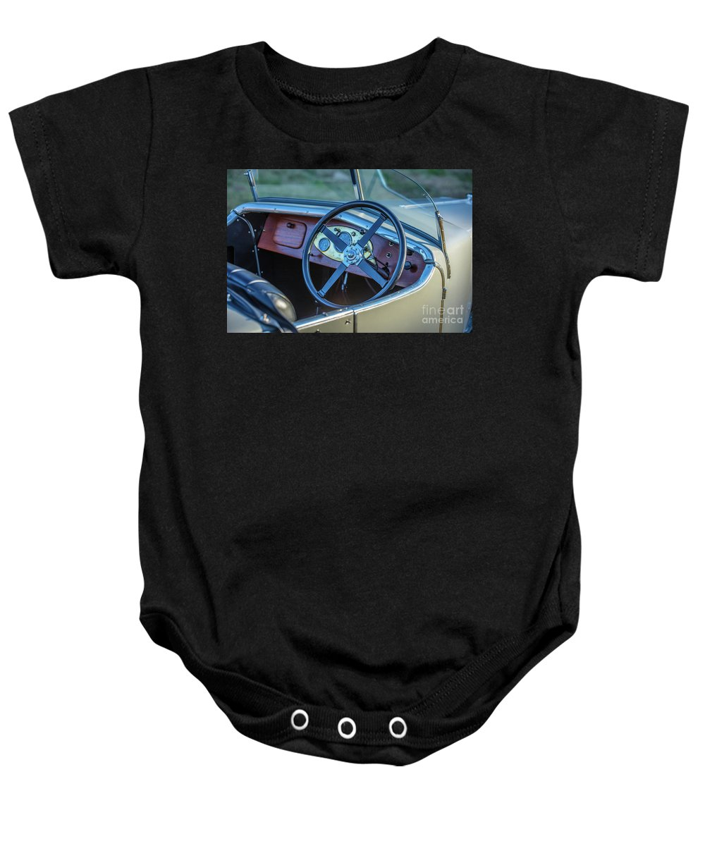 1930 Mg Baby Onesie featuring the photograph 1743.032 1930 Mg Steering by M K Miller