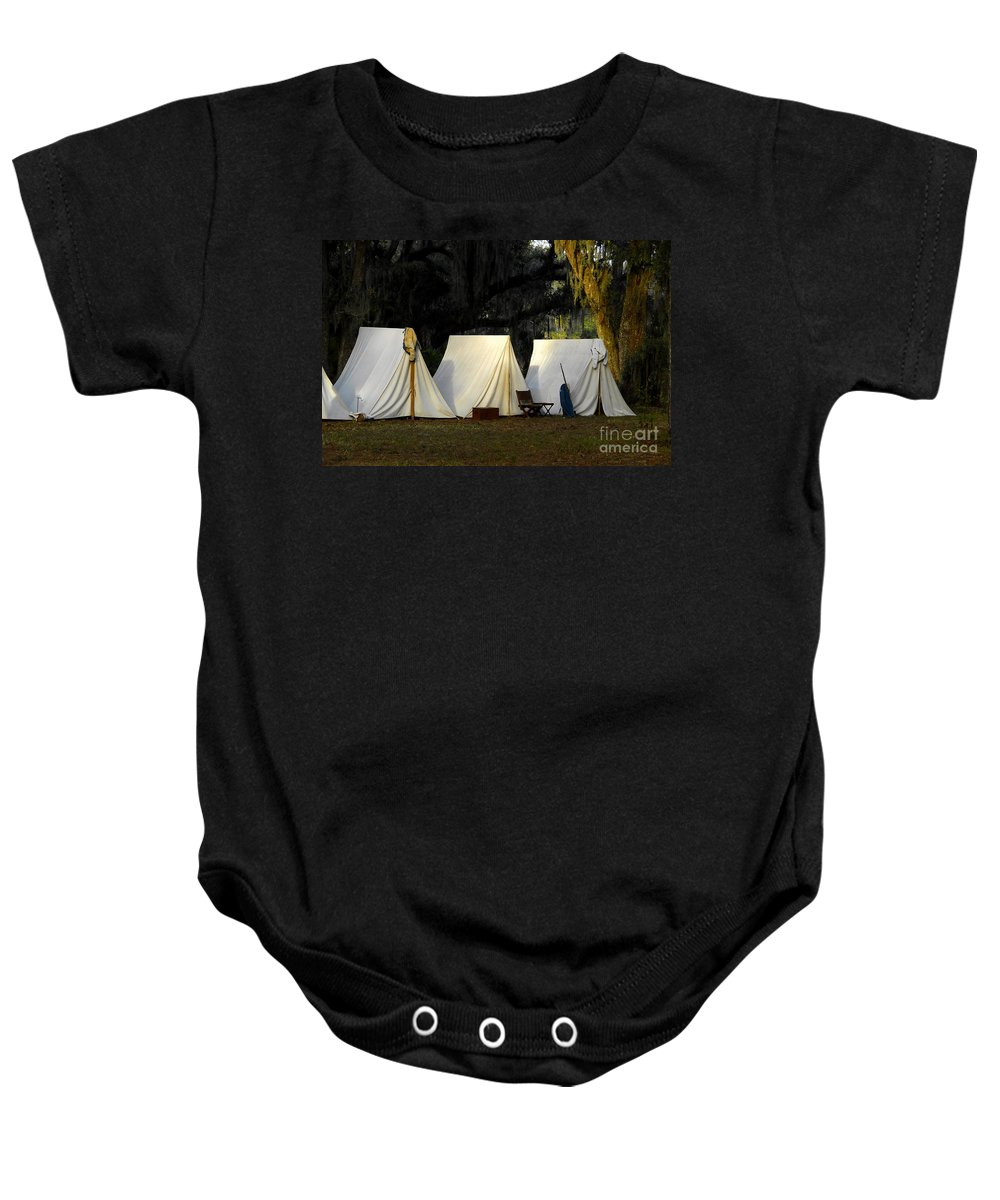 Army Tents Baby Onesie featuring the photograph 1800s Army Tents by David Lee Thompson
