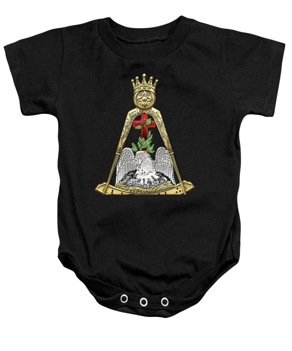 'ancient Brotherhoods' Collection By Serge Averbukh Baby Onesie featuring the digital art 18th Degree Mason - Knight Rose Croix Masonic Jewel by Serge Averbukh