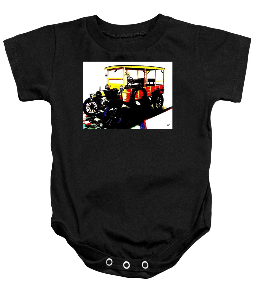 1912 Baby Onesie featuring the digital art 1912 Ford Model T Taxi by Will Borden